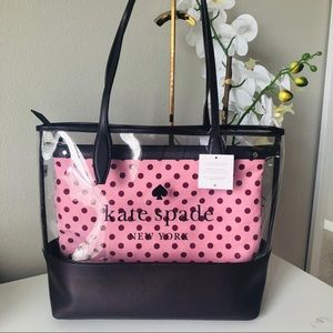 KATE SPADE LARGE TRIPLE COMPARTMENT SEE THRU TOTE